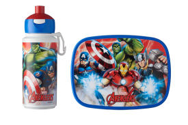 Pausenset Campus pop-up Trinkflasche + Brotdose midi - Avengers