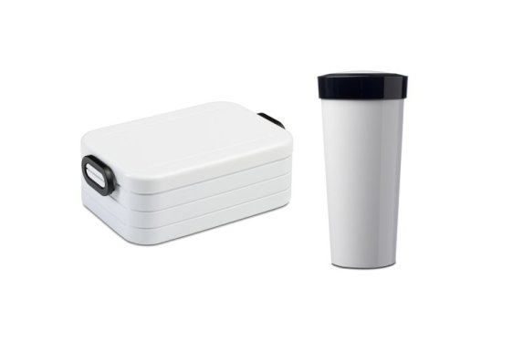 Lunchbox Take a Break Midi mit Becher - Weiβ