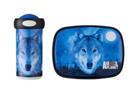 Lunchset Campus schoolbeker + lunchbox midi - Animal Planet Wolf