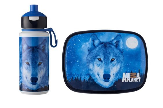 Lunchset Campus pop-up + lunchbox midi - Animal Planet Wolf